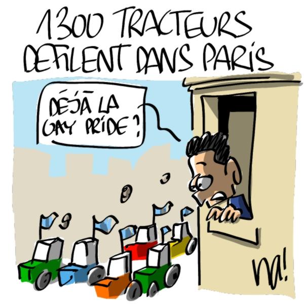 Nactualités : 1300 tracteurs manifestent dans Paris