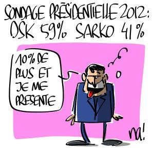 Nactualités : sondage présidentielle 2012 : Strauss Kahn : 59% Sarkozy : 41%