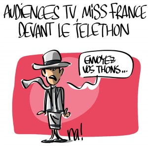Nactualités : audiences TV, Miss France devant le Téléthon