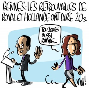 Nactualités : meeting PS de Rennes, les retrouvailles de Ségolène Royal et François Hollande ont duré 20 secondes