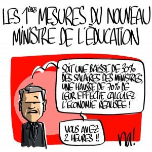Nactualités : les 1ères mesures du nouveau ministre de l'éducation