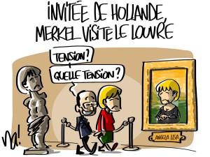 Nactualités : invitée de François Hollande, Angela Merkel visite le Louvre