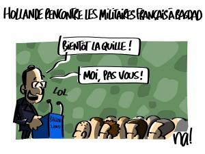 Hollande rencontre les militaires français à Bagdad