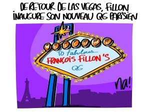 de retour de Vegas, Fillon inaugaure son QG de campagne