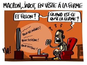 Macron, Jadot, en visite à la ferme