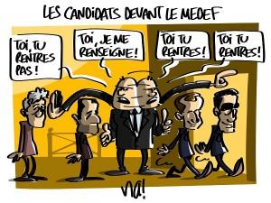 les candidats devant le medef