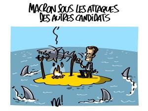 Macron sous les attaques des autres candidats