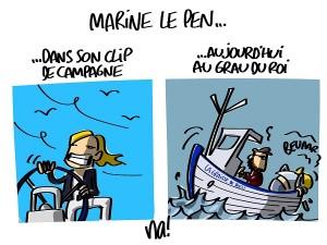Marine Le Pen est sur un bateau