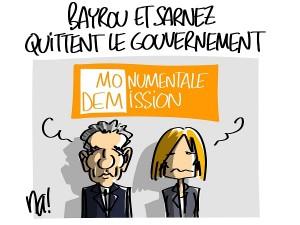 Bayrou et Sarnez quittent le gouvernement