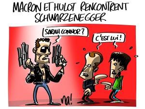 Macron et Hulot rencontrent Schwarzenegger