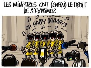 Sortie du conseil des ministres