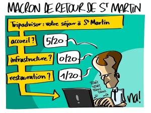 Macron de retour de St Martin