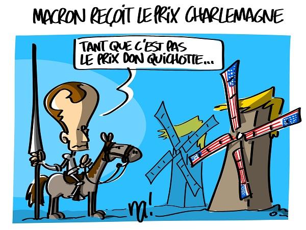 Le dessin du jour (humour en images) - Page 16 2291_macron_reçoit_le_prix_charlemagne