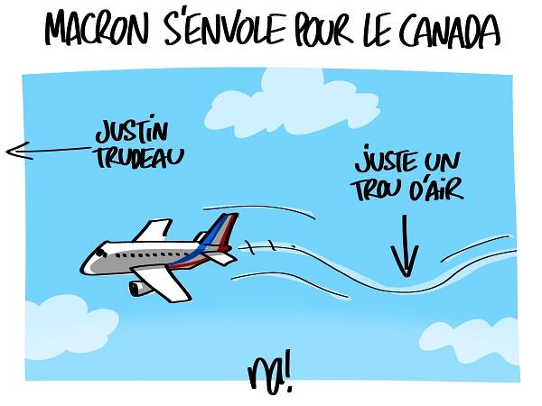 Le dessin du jour (humour en images) - Page 16 2311_macron_senvole_pour_le_canada