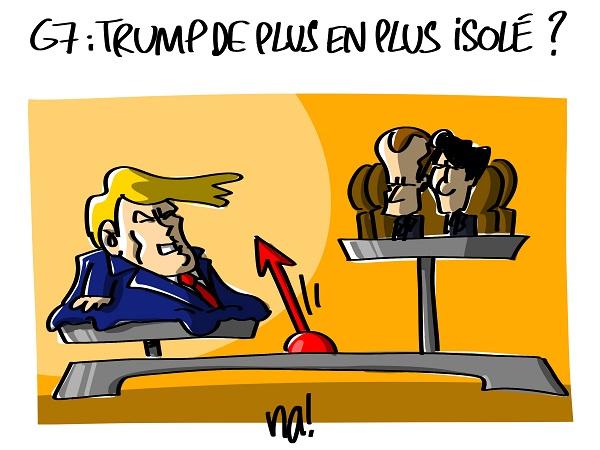 Le dessin du jour (humour en images) - Page 16 2313_G7_trump_isolé