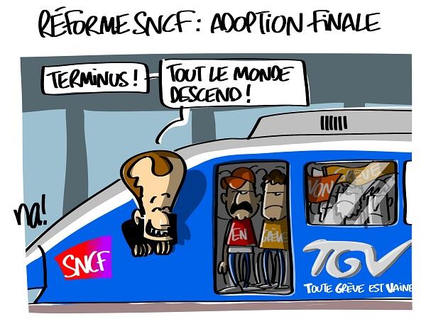 Le dessin du jour (humour en images) - Page 16 2316_réforme_SNCF_adoption_finale