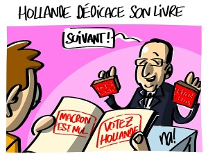 Hollande dédicace son livre