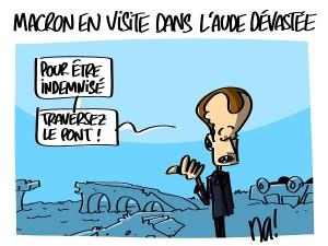 Macron en visite dans l'Aude dévastée