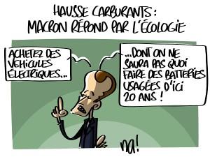 Hausse carburants : Macron répond par l'écologie
