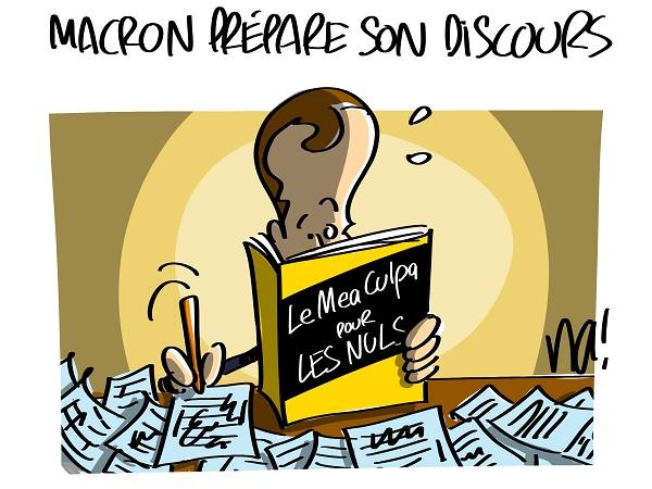 Le dessin du jour (humour en images) - Page 22 2402_macron_pr%C3%A9pare_son_discours