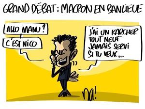 Grand débat, Macron en banlieue