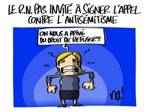 le RN pas invité à signer l'appel contre l'antisémitisme