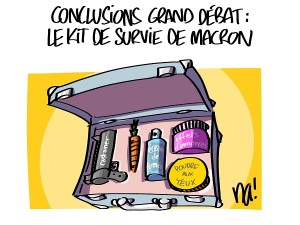 conclusions grand débat, le kit de survie de Macron