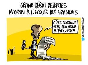 Grand débat retaites, Macron à l'écoute des Français