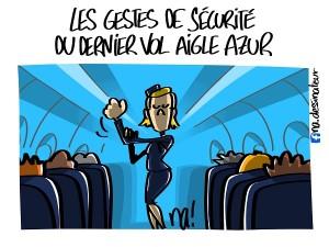 Les gestes de sécurité du dernier vol Aigle Azur