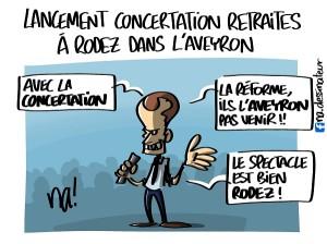 Lancement concertation retraites, à Rodez dans l'Aveyron