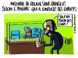 Incendie de Rouen sans danger selon Edouard Philippe