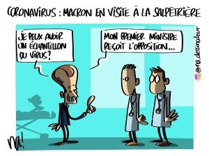 Coronavirus : Macron en visite à la salpêtrière