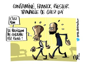 Contaminé, Franck Riester travaille de chez lui