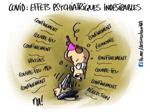 Covid, effets psychiatriques indésirables