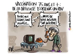 vaccination 75 ans et plus, de la difficulté d'obtenir un RDV