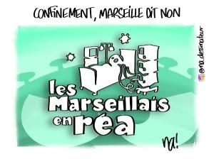 Confinement, Marseille dit non – dessin bonus