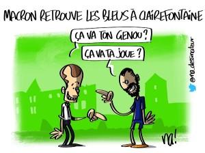 Macron retrouve les Bleus à Clairefontaine