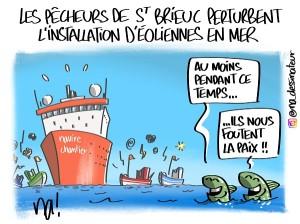 Les pêcheurs de St Brieuc perturbent l'installation d'éoliennes en mer